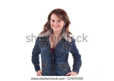 Smiling beautiful woman posing in studio on a white background