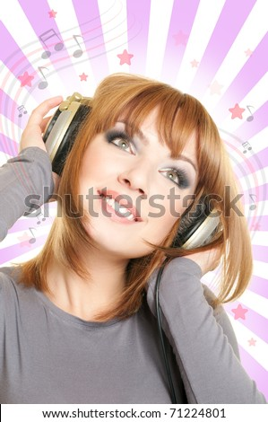 Smiling beautiful woman with headphones