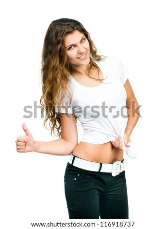 Smiling beautiful women posing with blank white shirts. Ready for your design