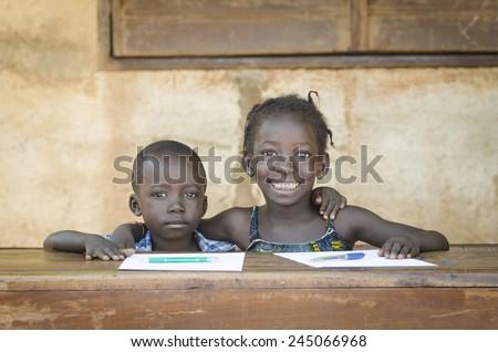 Smiling Black Children: African Ethnicity Education Symbol Schooling