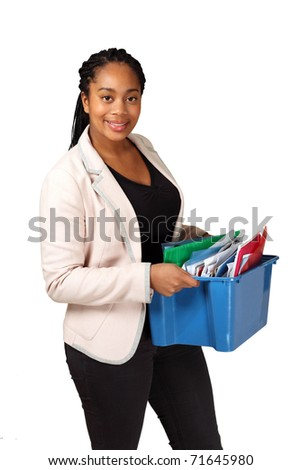 Smiling black female holding box of documents