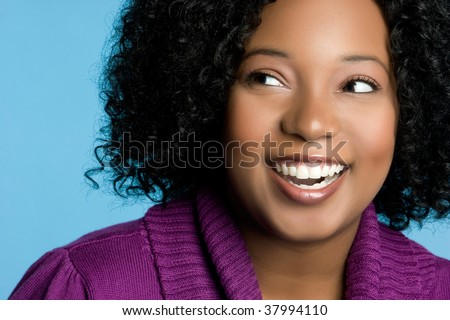 Smiling Black Woman - stock photo
