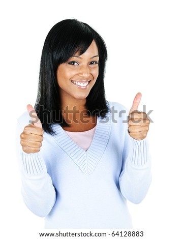 Smiling black woman giving thumbs up gesture isolated on white background