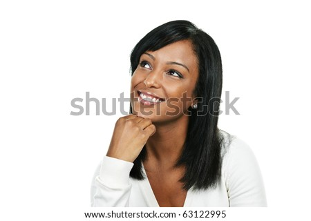 Smiling black woman looking up portrait isolated on white background