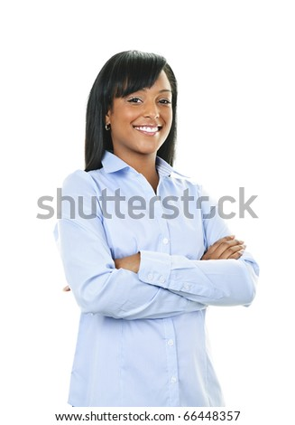 Smiling black woman with arms crossed isolated on white background