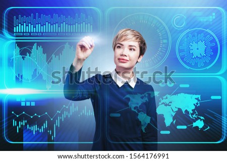 Smiling blonde businesswoman working with blue infographics interface. Concept of big data. Toned image double exposure #1564176991