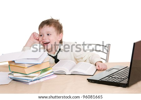 smiling boy pupil  isolated on white background