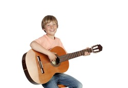 Smiling boy with a guitar isolated on white background