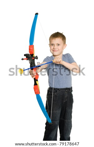 Smiling boy with a sports bow for kids.
