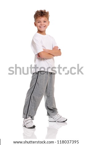 Smiling boy with hands folded isolated on white background