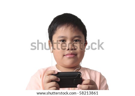 smiling boy with headphones isolated in white background