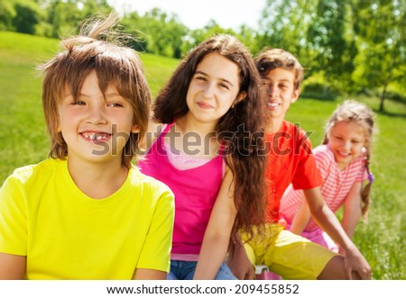 Smiling boy with his friends in summer #209455852