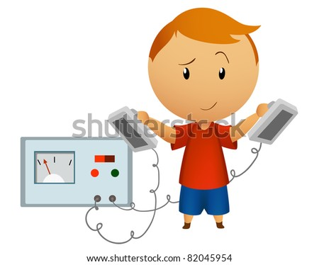 Smiling boy with medical defibrillator. Vector available.