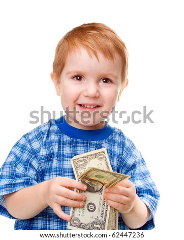 smiling boy with money dollar banknote. isolated on a white background.