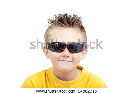 Smiling boy with sunglasses, isolated on white background