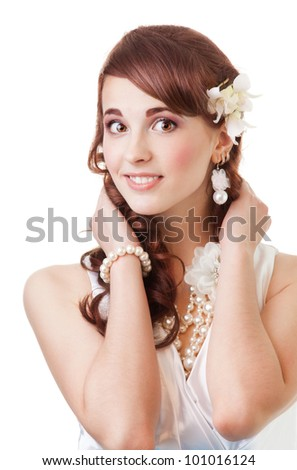 Smiling bride portrait close-up isolate on white