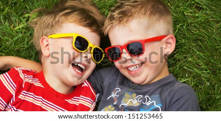 Smiling brothers stock photo