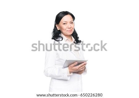 Smiling brunette woman #650226280