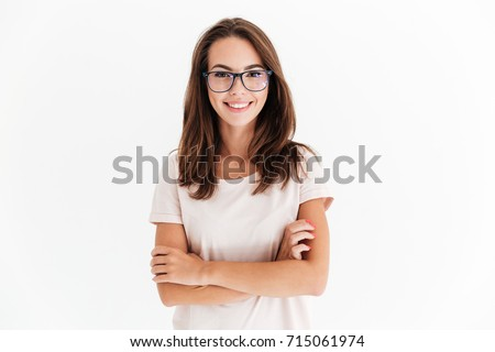 smiling brunette woman in...