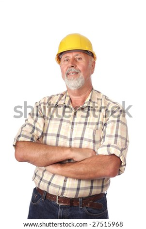 Smiling builder architect portrait isolated on white