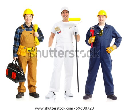 Smiling builder people. Isolated over white background
