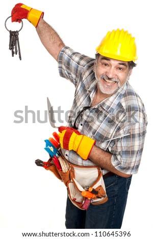 smiling builder with keys