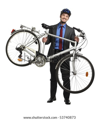 smiling business man hold his bicycle isolated on white
