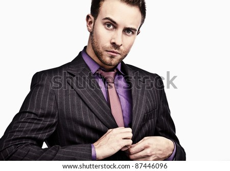 Smiling business man. Isolated over white background