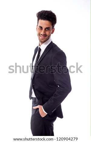 smiling business man on white background