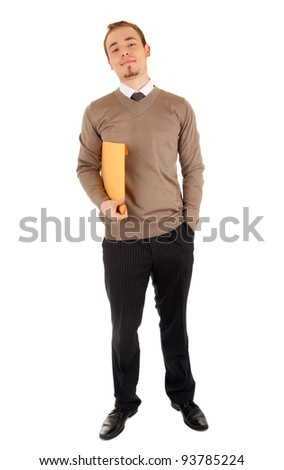 Smiling business man with a yellow post package isolated on white.