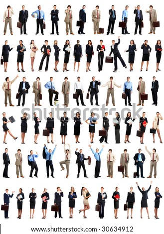 Smiling business people. Isolated over white background