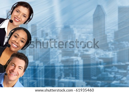 Smiling  business people with headsets - stock photo