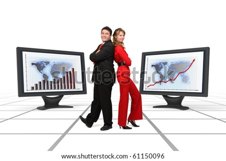 Smiling business team standing among two big 3d rendered monitors displaying financial growth