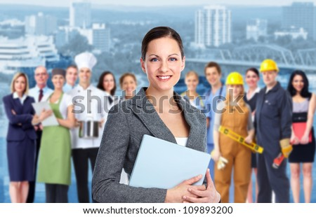 Smiling Business woman and Group of industrial workers.