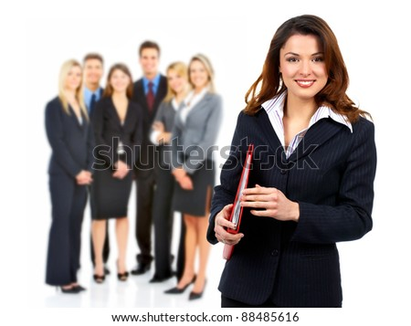 Smiling business woman and group of people. Isolated over white background