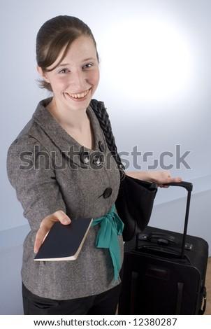 Smiling Business Woman handing over passport