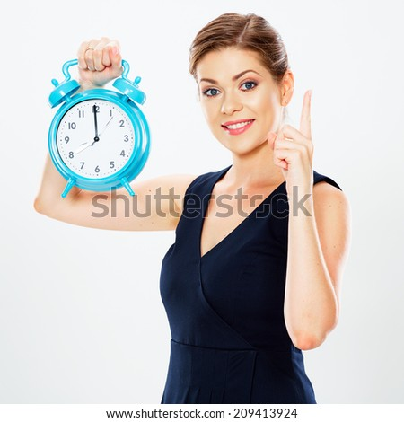 Smiling Business woman hold watch. Idea .White background isolated. Time concept.