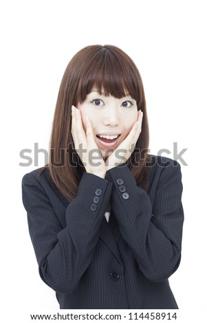 smiling business woman isolated on white background
