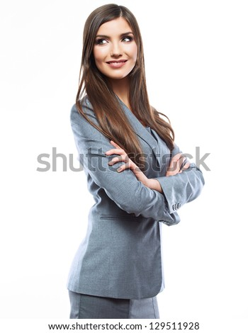 Smiling business woman, isolated on white background. crossed arms