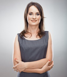 Smiling business woman. Isolated portrait.