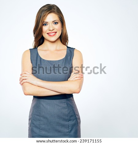 smiling business woman isolated portrait. confident woman standing against white background. #239171155