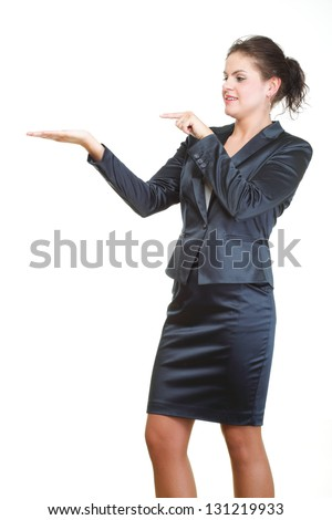 Smiling business woman presenting. Isolated over white background
