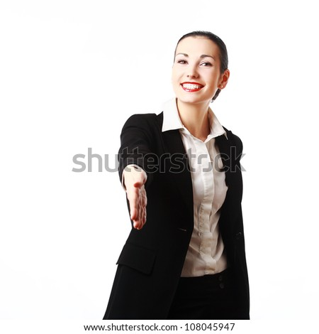Smiling business woman ready to shake hands. Isolated on white background