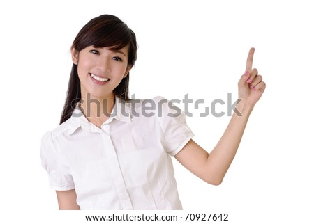 Smiling business woman rise hand and pointing copyspace of white.