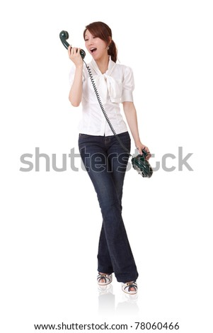 Smiling business woman talking on phone, full length portrait isolated on white background.