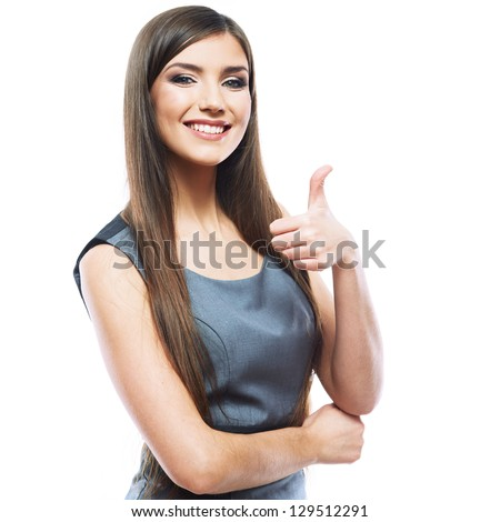 Smiling business woman thumb up show. isolated white background .