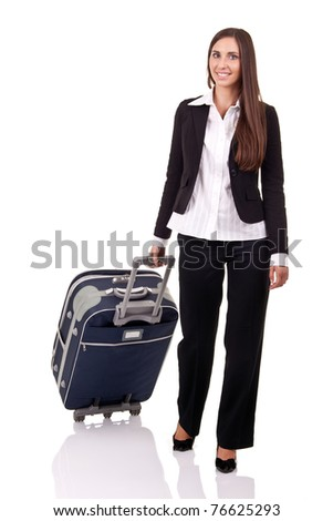 smiling business woman traveling, isolated over white background