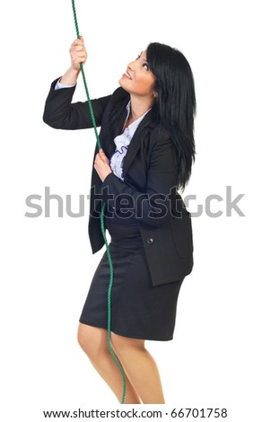 Smiling business woman trying to climbing a rope and aspirate to success isolated on white background
