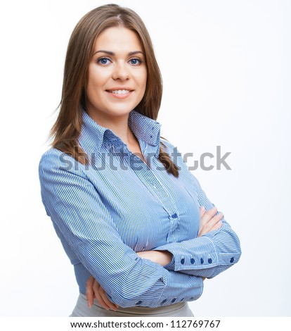 Smiling business woman with folded hands against white background Toothy smile crossed arms