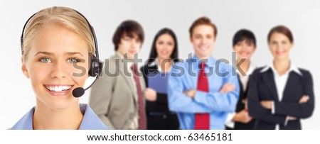 Smiling  business woman with headset and business people